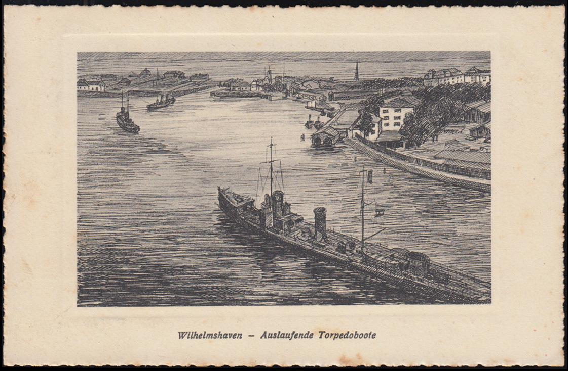Ansichtskarte Wilhelmshaven: Auslaufende Torpedoboote, VAREL 23.8.1926 0