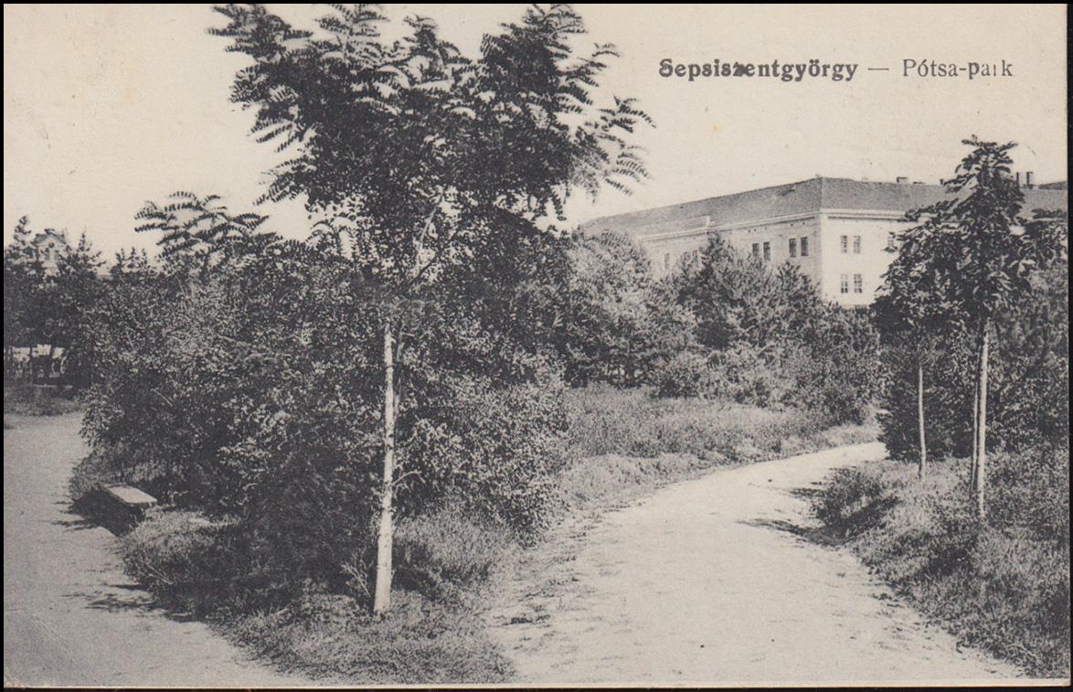 AK Rumänien Sepsiszentgyörgy Potsa-Park, als Feldpost 19.7.17 nach Breyell 0