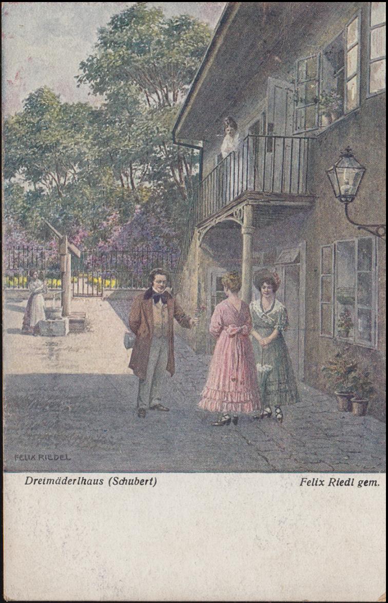 Wiener Kunst Ansichtskarte Felix Riedel: Dreimäderlhaus Schubert, AACHEN 1920 0