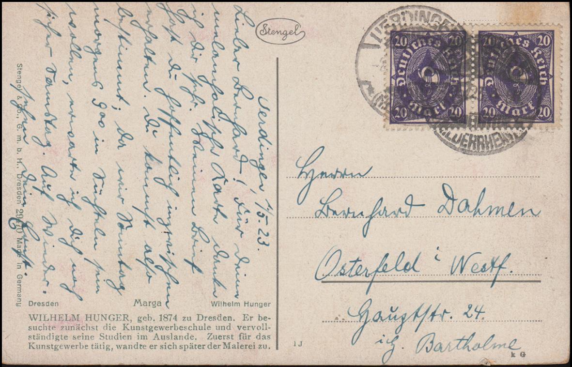 Ansichtskarte Wilhelm Hunger: Marga, UERDINGEN 2.5.1923 nach Osterfeld 1