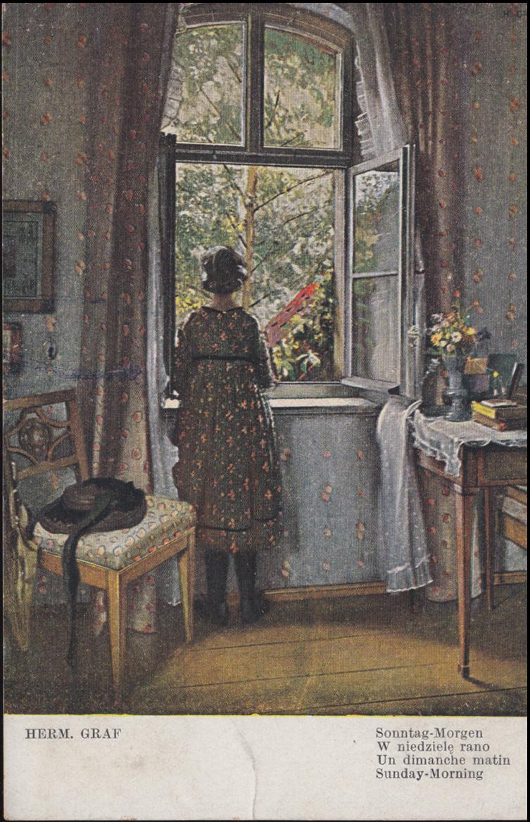 Ansichtskarte Herm. Graf: Sonntag-Morgen, AACHEN 9.11.1919 nach Kaldenkirchen 0