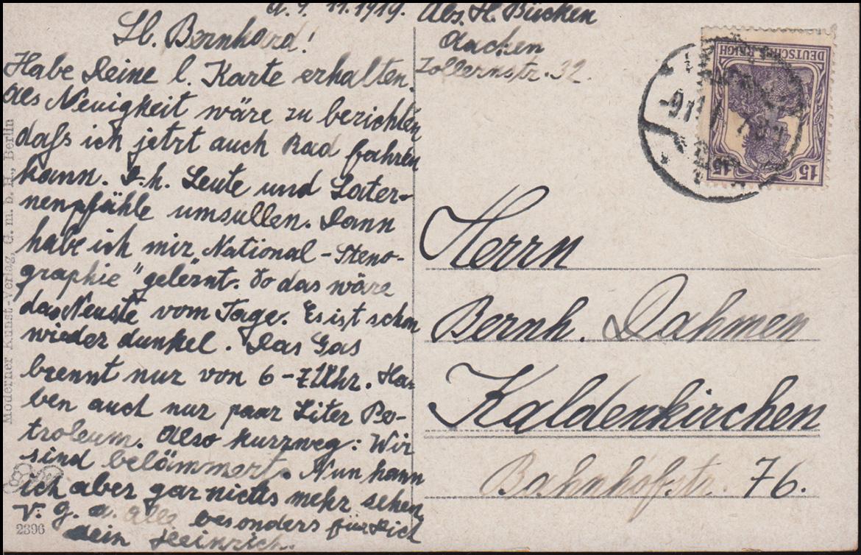 Ansichtskarte Herm. Graf: Sonntag-Morgen, AACHEN 9.11.1919 nach Kaldenkirchen 1