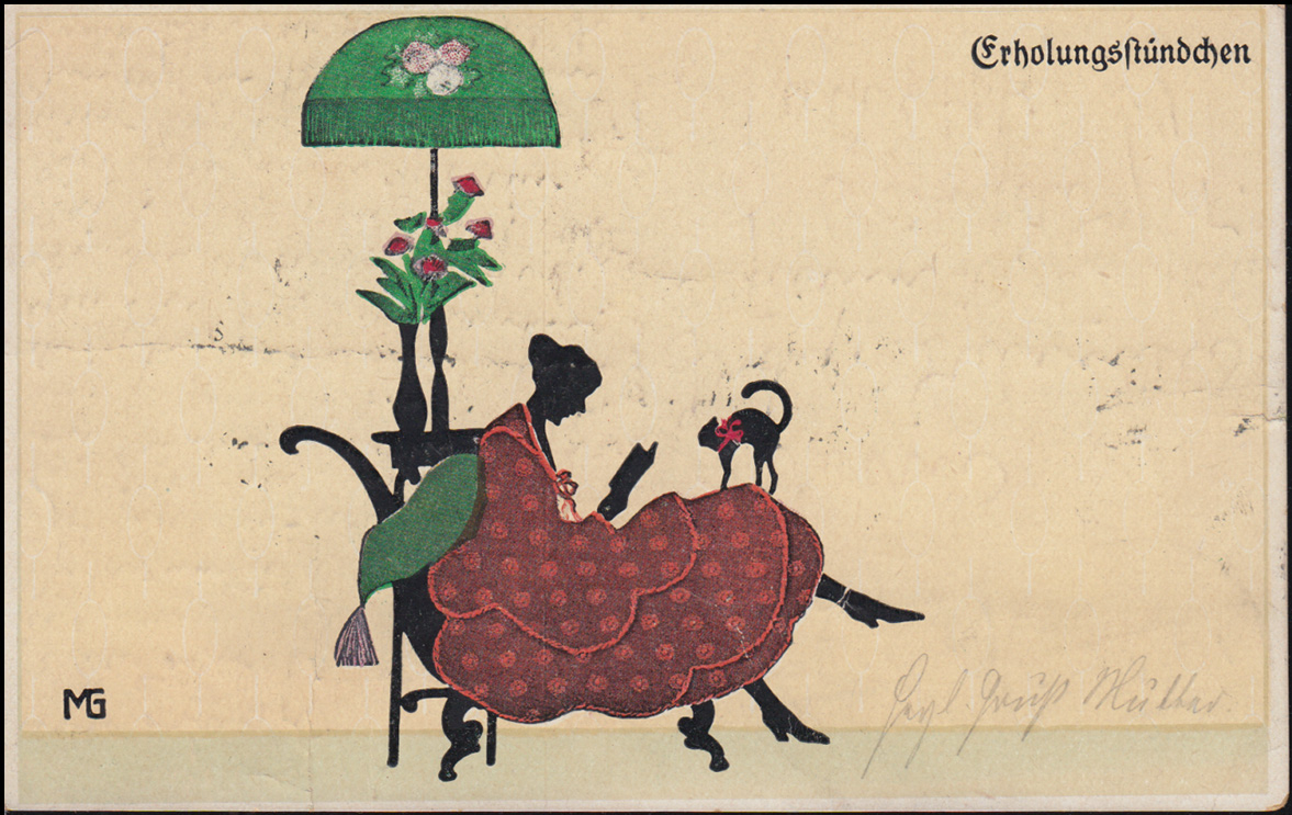 Ansichtskarte Fasto-Silouette Erholungsstündchen, KALDENKIRCHEN 26.4.1923 0