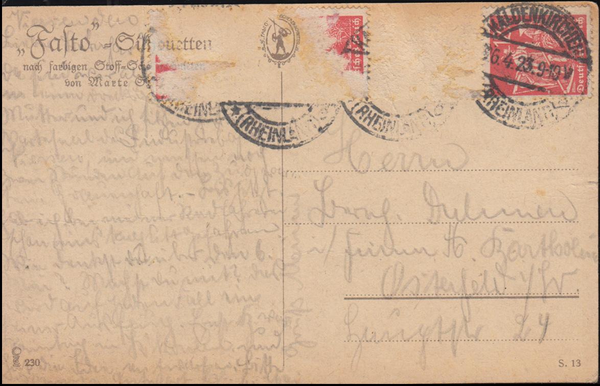 Ansichtskarte Fasto-Silouette Erholungsstündchen, KALDENKIRCHEN 26.4.1923 1