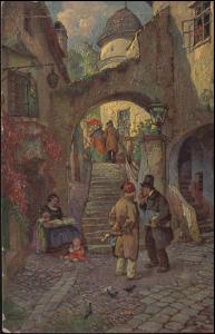 Ansichtskarte Jos. Frank: Kleinstadtklatsch, UERDINGEN 19.7.1923 nach Osterfeld