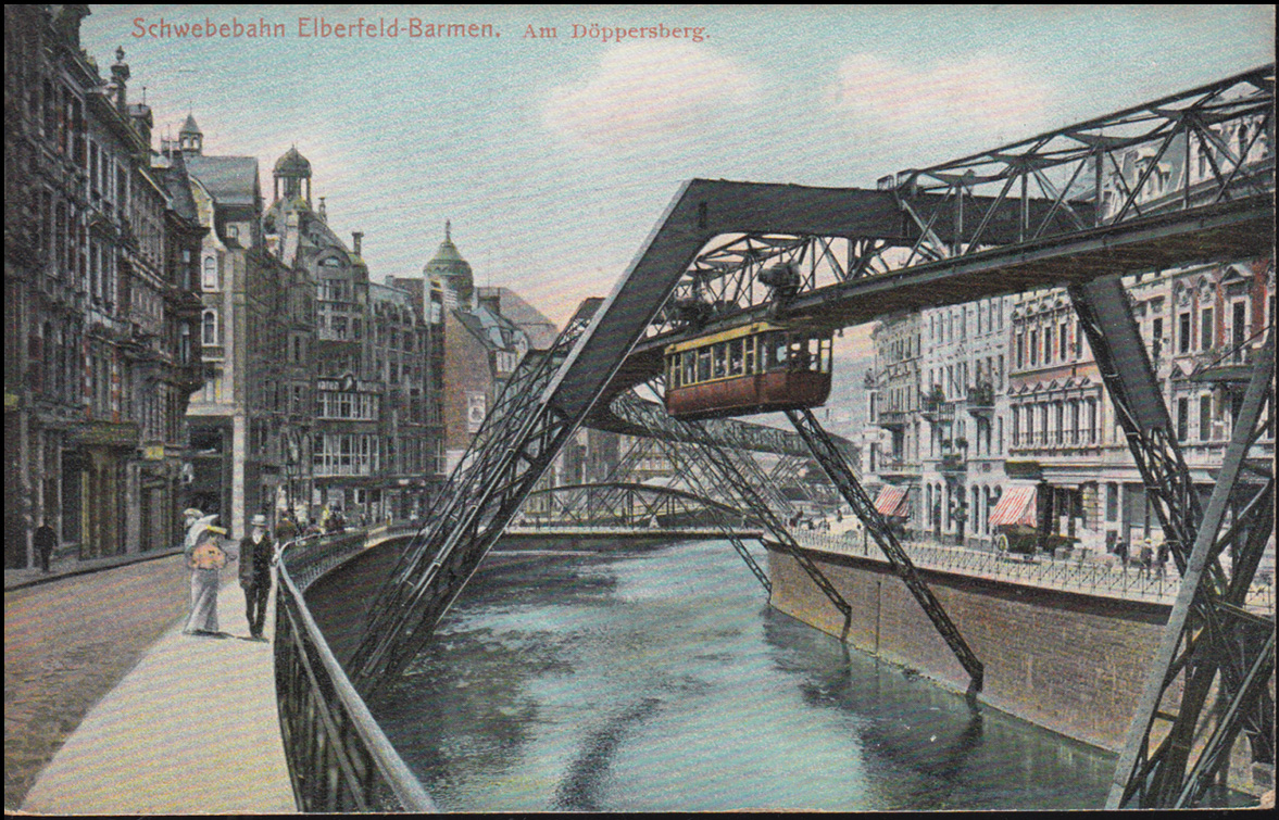 Ansichtskarte Schwebebahn Elberfeld-Barmen Am Döppersberg,18.7.1909 nach Breyell 0