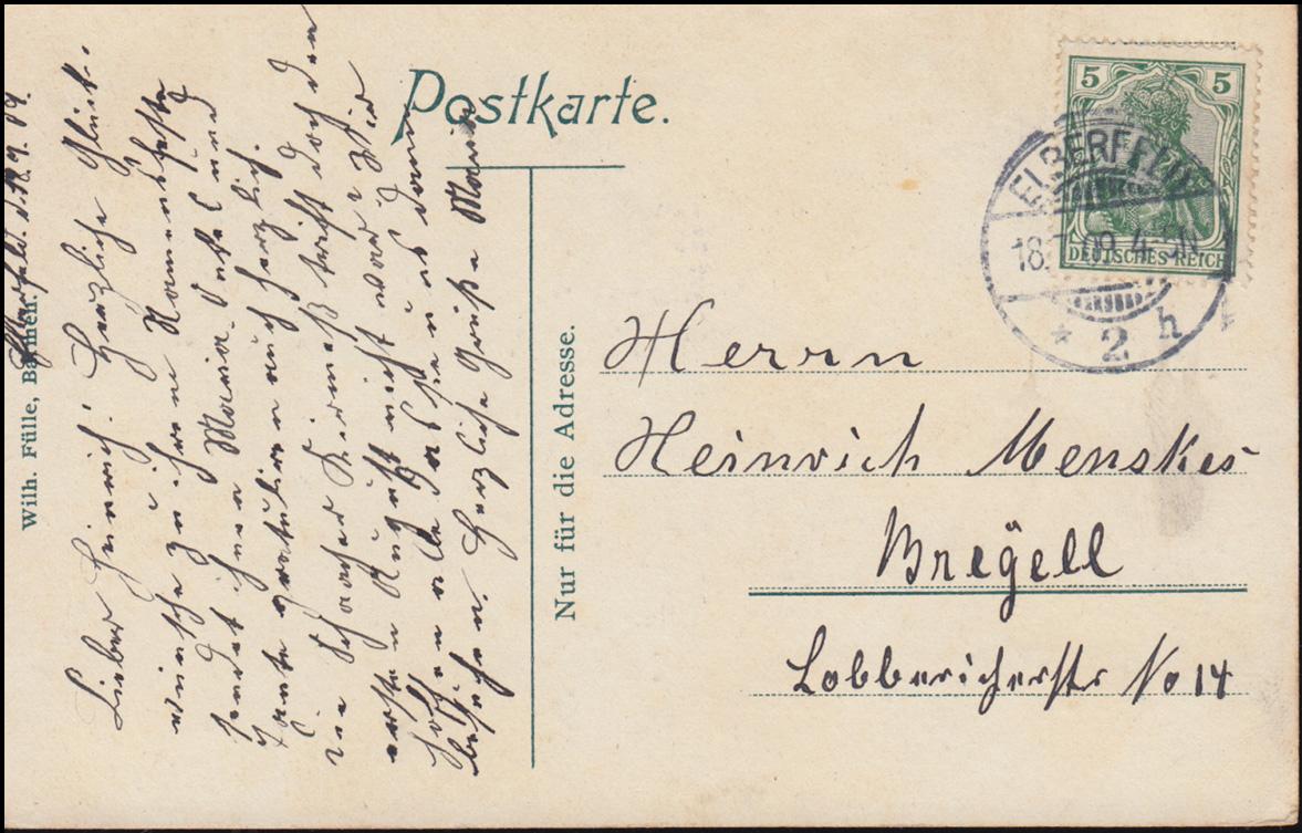 Ansichtskarte Schwebebahn Elberfeld-Barmen Am Döppersberg,18.7.1909 nach Breyell 1