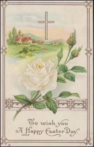 Kanadische Ansichtskarte Ostern Kreuz und Weiße Rose, TZOUHALEM um 1913