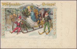 Ansichtskarte Weihnachten Weihnachtsmann Christkind Zwerge, CÖLN 24.12.1997