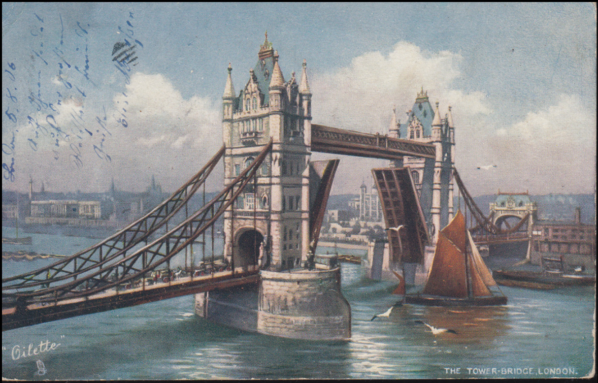 Ansichtskarte Gemälde Tower-Bridge in London, LONDON 6.8.1906 nach Breyell 0