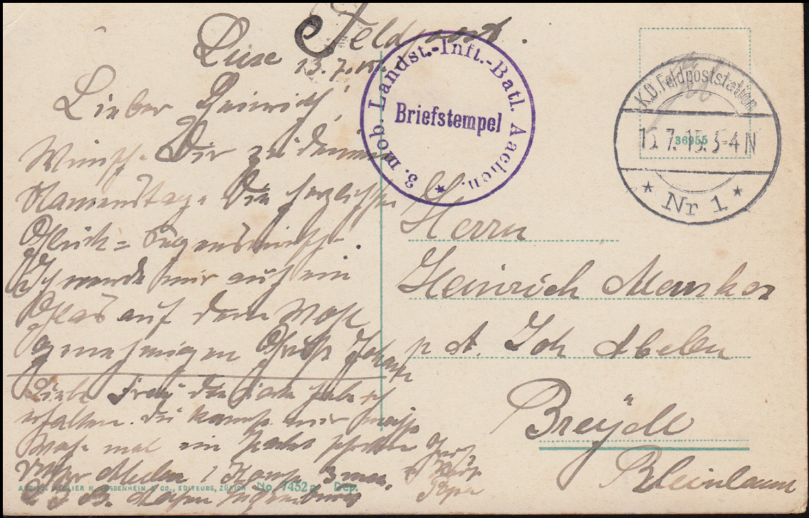 Feldpost BS 3. mobiles Landsturm-Infant.-Batl. Aachen 1.7.1915 auf AK Luxembourg 0