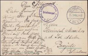 Feldpost BS 3. mobiles Landsturm-Infant.-Batl. Aachen 1.7.1915 auf AK Luxembourg
