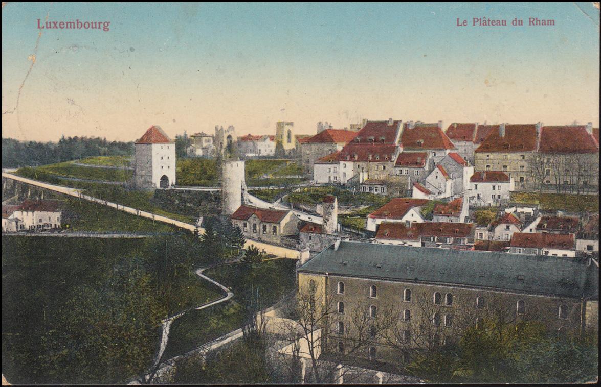 Feldpost BS 3. mobiles Landsturm-Infant.-Batl. Aachen 1.7.1915 auf AK Luxembourg 1