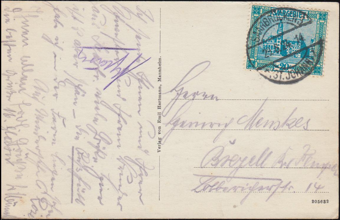 Ansichtskarte Saarbrücken Gesamtansicht, 29.8.1924 nach Breyell 1