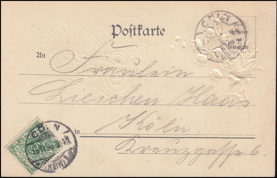 Glückwunschkarte Nr. 8 Kunstanstalt Paul Seyfert / Dresden, CÖLN/RHEIN 15.11.98 1