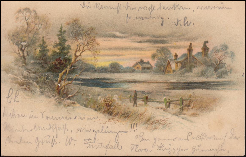 Ansichtskarte Gemälde Dorf mit Teich, CÖLN/RHEIN 9.8.1900 als Orts-Postkarte 0