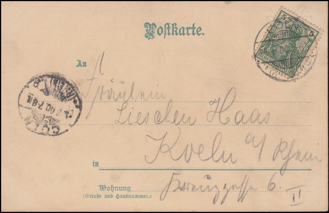 Ansichtskarte Gemälde Dorf mit Teich, CÖLN/RHEIN 9.8.1900 als Orts-Postkarte 1