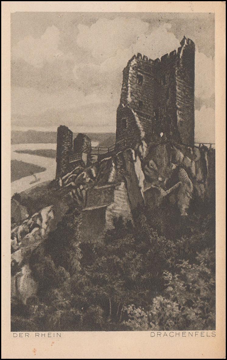 Ansichtskarte Der Rhein: Drachenfels, ROLANDSECK 28.8.1924 nach Breyell 0