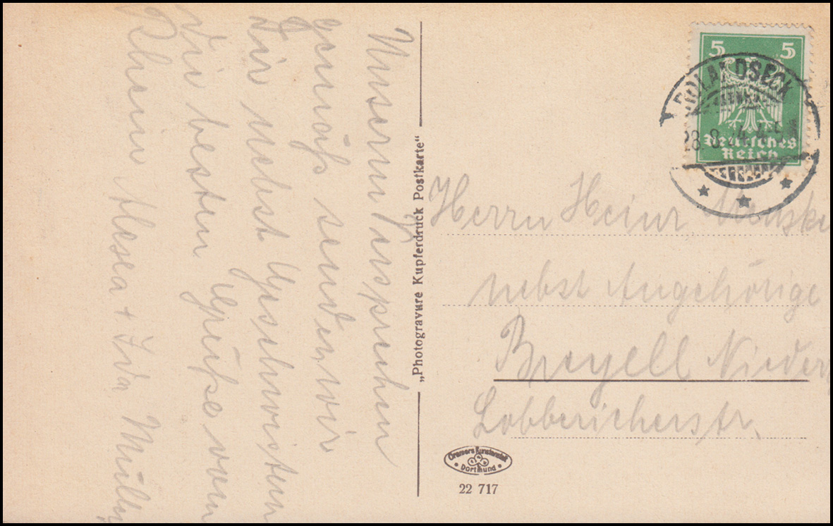 Ansichtskarte Der Rhein: Drachenfels, ROLANDSECK 28.8.1924 nach Breyell 1