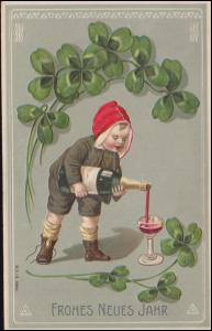 Präge-Ansichtskarte Frohes Neues Jahr Wein Kleeblatt, BREYELL 21.12.1909