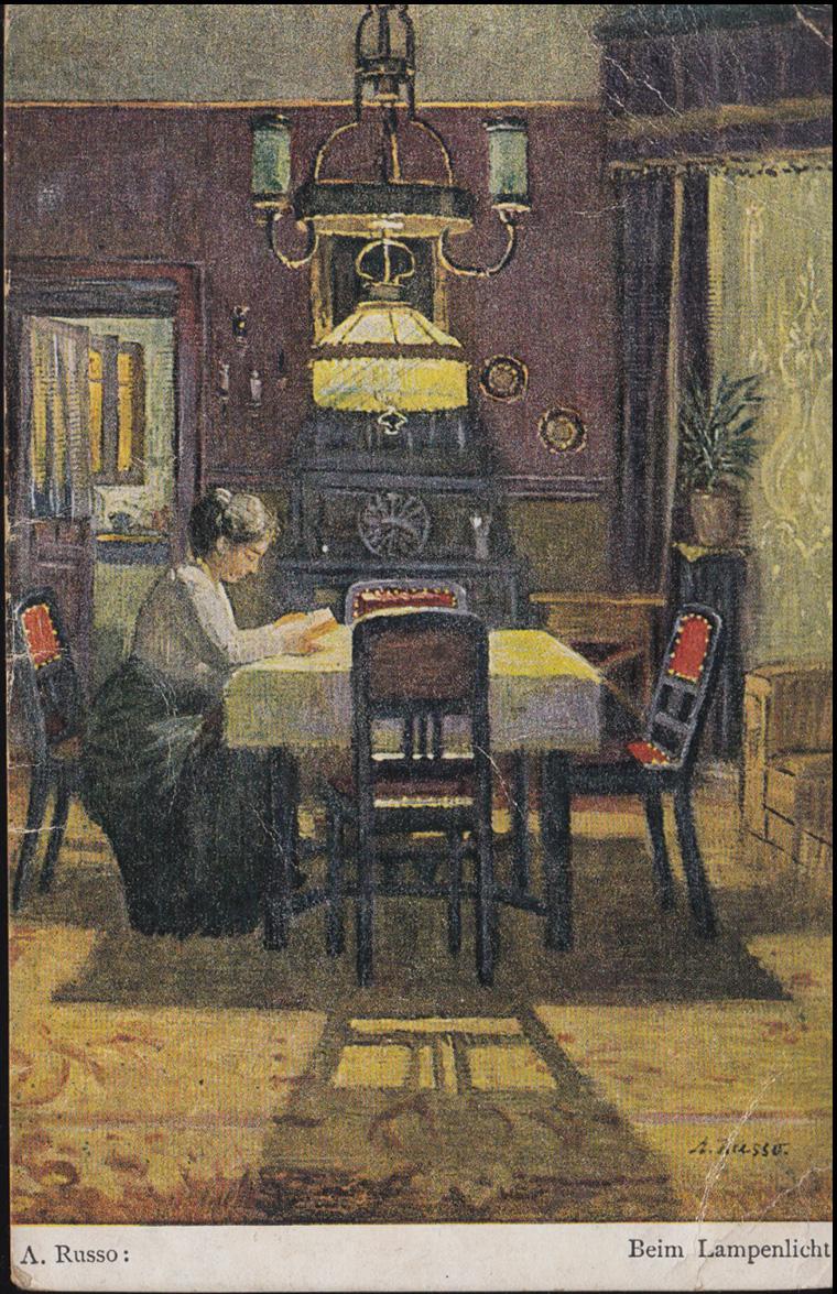 Ansichtskarte A. Russo: Beim Lampenlicht, KALDENKIRCHEN 31.5.1923 0