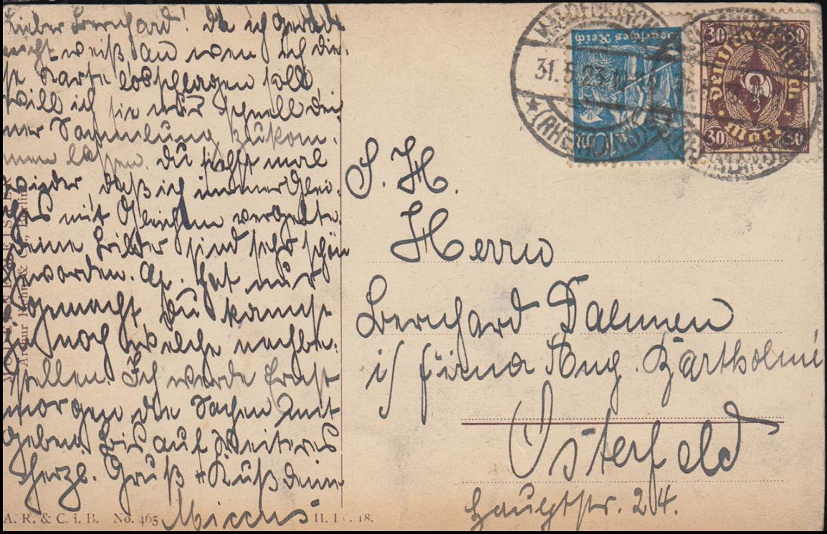 Ansichtskarte A. Russo: Beim Lampenlicht, KALDENKIRCHEN 31.5.1923 1