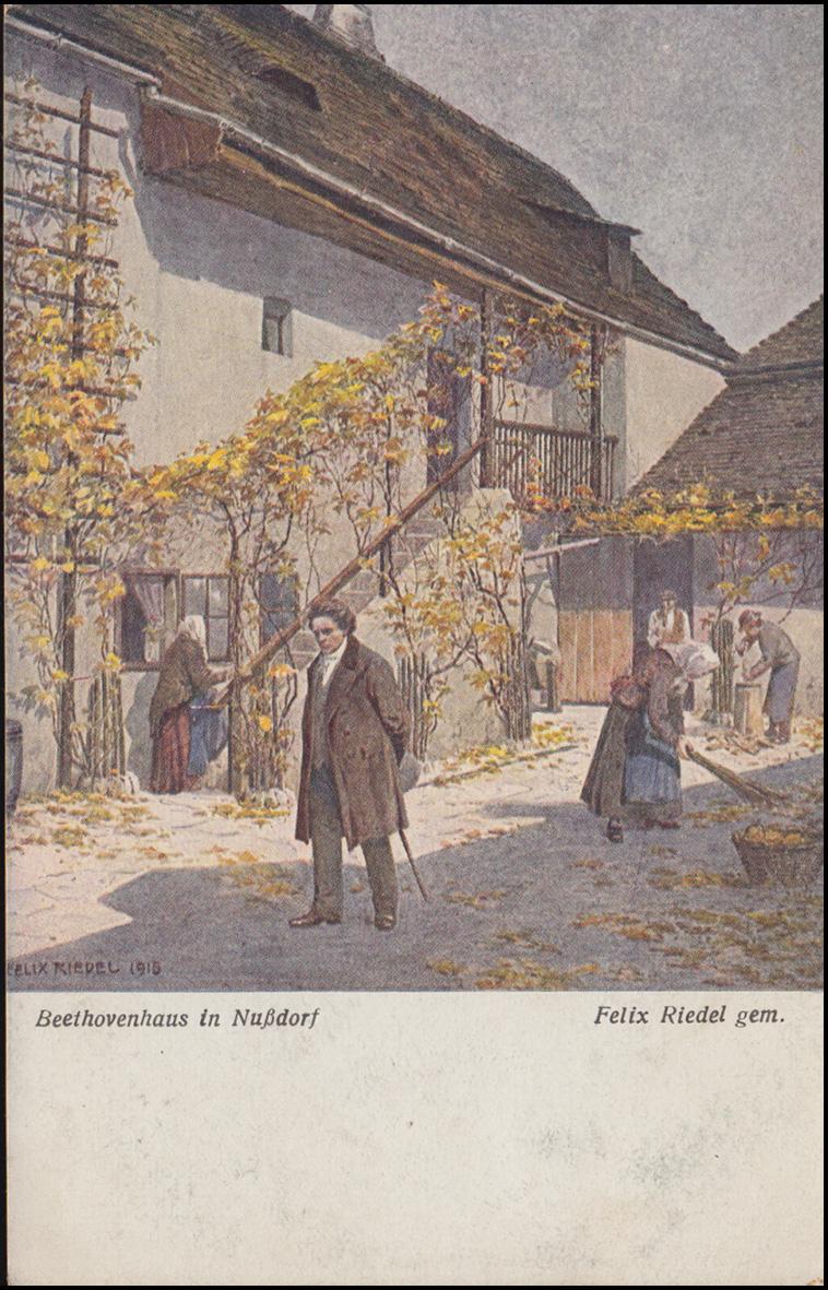 Wiener Kunst Ansichtskarte Felix Riedel: Beethovenhaus in Nußdorf, AACHEN 1918 0