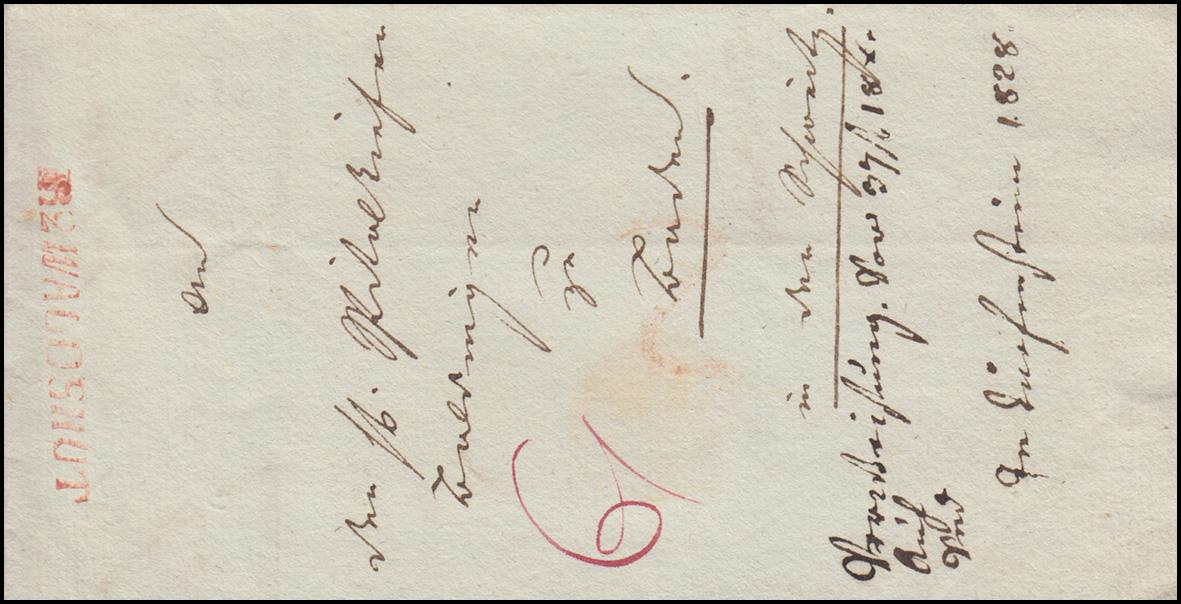 Baden Vorphilatelie Faltbrief roter Einzeiler R.2. WALDSHUT, geschrieben 15.2.28 0