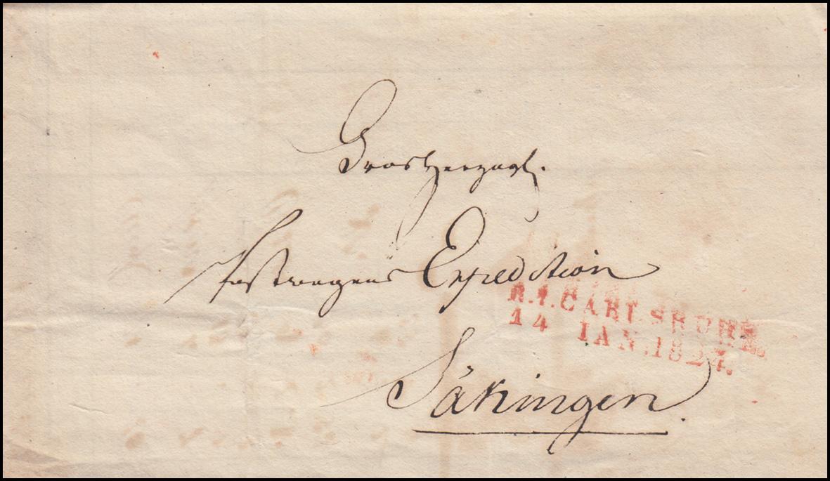 Baden Vorphilatelie Faltbrief R.1. CARLSRUHE 14.1.24 n. Säkingen Fahrende Post 0