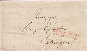 Baden Vorphilatelie Faltbrief R.1. CARLSRUHE 14.1.24 n. Säkingen Fahrende Post