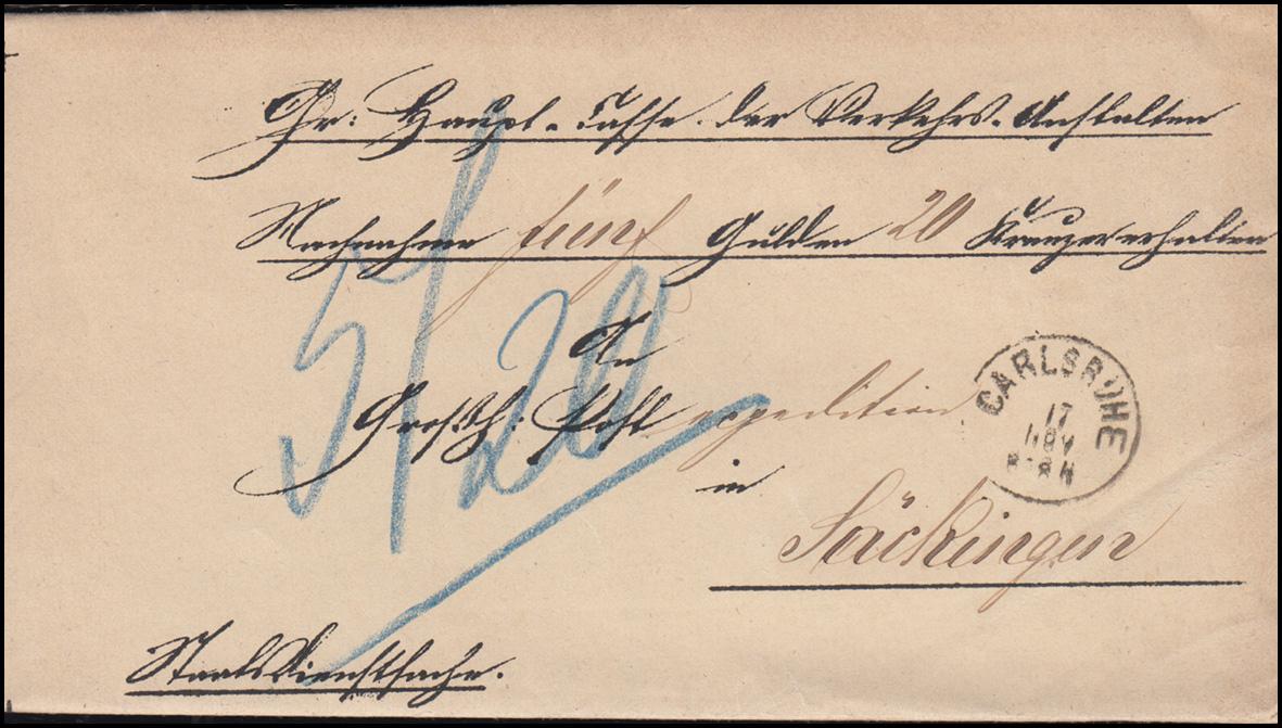 Baden Faltbrief CARLSRUHE 17.11.1870 Quittung für Posthalter in Säckingen 0