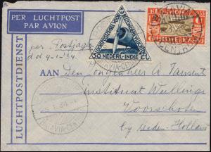 KLM-Flugpost Postjager/Batavia 5.1.34 nach Leiden Brief 195+198 BATAVIA 4.1.1934