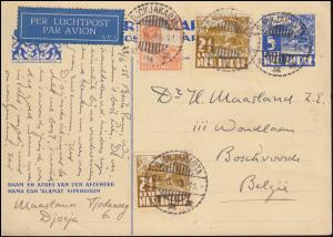 KLM-Luftpost NL-Indien-Belgien Luftpost-Karte DJOKJAKARTA 24.6.1935 nach Belgien
