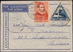 KLM-Flugpost PELIKAN/Batavia 27.12. nach Utrecht Brief 193+195 DJAMBI 28.12.33