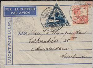 KLM-Flugpost Postjager/Batavia 5.1.34 nach Amsterdam Bf. 143+195 CHERIBON 3.1.34