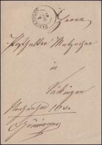 Baden Faltbrief Zweikreis SAECKINGEN 3.11.1862 an den Posthalter Malzacher