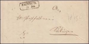 Baden Vorphilatelie Faltbrief HALTINGEN 26.1.55 an die Posthalterei in Säkingen