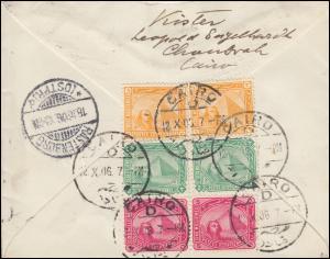 Ägypten Pyramide 2+3+5 Mill. CAIRO 12.10.1906 nach RASTENBURG (OSTPR.) 18.10.06
