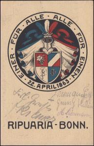AK Studentenverbindung RIPUARIA-BONN Einer für alle ... 22. April 1863, um 1920