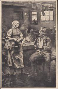 Kriegsbilder-Ansichtskarte Wieder daheim BS Sanitäts-Kompanie Feldpost 12.7.1916