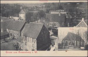 Ansichtskarte Gruss aus Sassenberg -Total und mit Kirche 3.2.1906