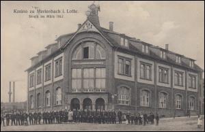 Ansichtskarte Kasino zu Merlenbach / Lothringen: Streik im März 1912, 31.8.12