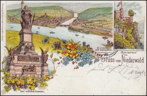 Ansichtskarte Gruss vom Niederwald Denkmal Bingen Rheinstein RÜDESHEIM 18.9.1897