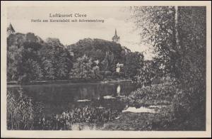 Ansichtskarte Luftkurort Cleve Partie am Kermisdahl mit Schwanenburg, 16.8.1931