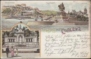 Ansichtskarte Gruss aus Coblenz mit 2 Ansichten, 30.8.1897 nach BREYELL 31.8.97