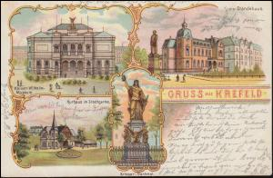 Ansichtskarte Gruss aus Krefeld mit 4 Bildern CREFELD 1.8.1899 nach BREYELL 2.8.