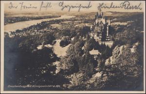 Ansichtskarte Drachenburg mit Königswinter am Rhein, DRACHENFELS 10.7.1929