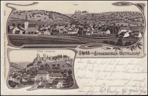 AK Gruss aus Schönecken-Wetteldorf Schule mit Burgruine und Total PRÜM 12.5.1910