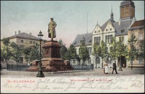 Ansichtskarte Mönchengladbach Bismarck-Denkmal und neues Postamt, NEUWERK 6.6.11