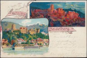 Ansichtskarte Gruss aus Heidelberg: Heidelberger Schloß, 29.10.1893 nach Koln